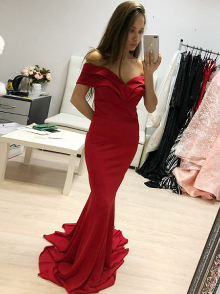 Charming Red Off the Shoulder Mermaid Sweep Train Evening Prom Dresses, BW0556
