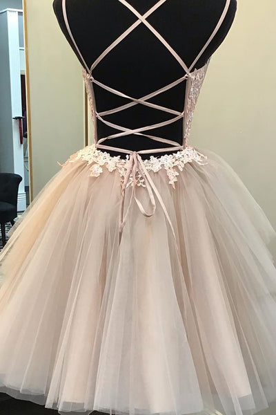 Elegant Spaghetti Straps Tulle A-line Applique Cross Back Homecoming Dress, BW3947