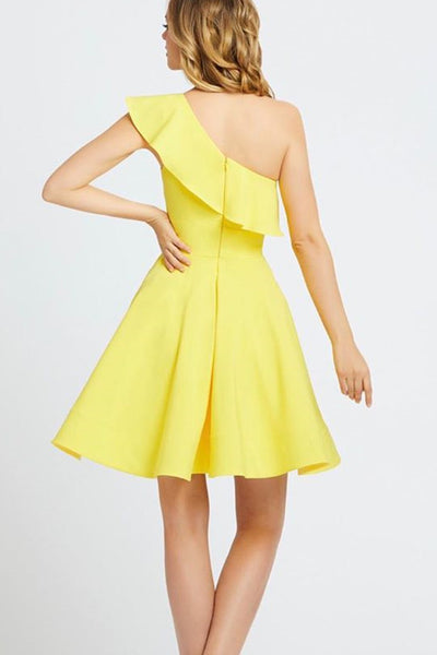 One Shoulder A-line Jersey Simple Homecoming Dress, BW3953