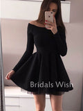 Pretty Black Long Sleeves  Bateau Neck Short Homecoming Dress EW0110