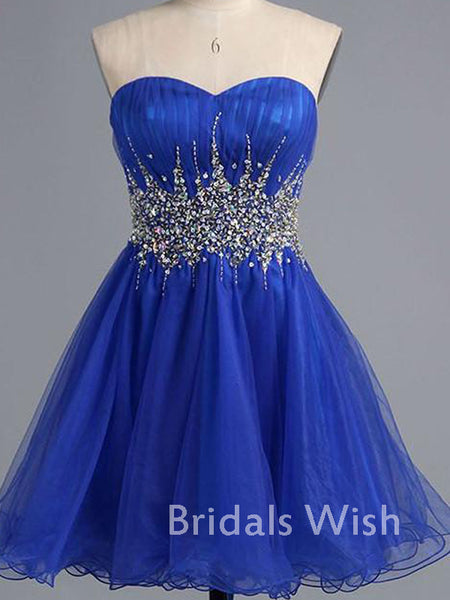 Pretty Blue Sweetheart Tulle Homecoming Dress with Beading EW0112