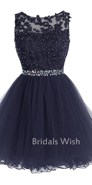 Unique Bateau Neck  Lace Top Navy Tulle Homecoming Dresses EW0131