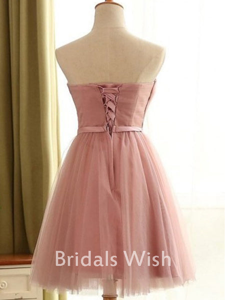 Pretty Straight Tulle Short Homecoming Dress with Lace UP EW0108