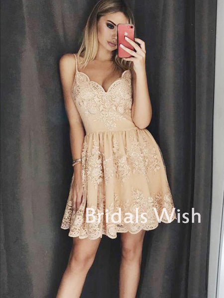 Affordable Sex Spaghetti Strap V-neck Lace Homecoming Dress EW0104