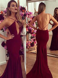 Sexy Burgundy Backless Mermaid Long Evening Prom Dresses, BW0282