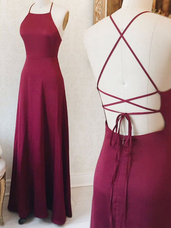 Burgundy Criss-cross Backless Long Evening Prom Dresses, BW0295