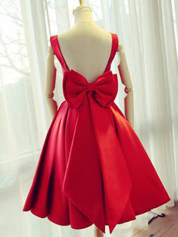 Simple Red Backless Satin Bow Short Homecoming Dresses, BW0363