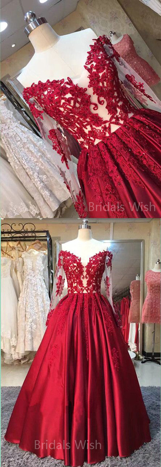 Gorgeous Red Lace Applique Off the Shoulder Long Sleeves Long Evening Prom Dresses, BW0315