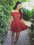 Affordable Red Lace Off the Shoulder Short Homecoming Dresses, BW0360