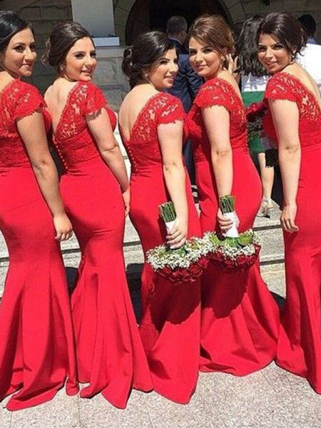 Pretty Red Lace Top V-Neck with Short Train Long Bridesmaid Dresses , BW0469