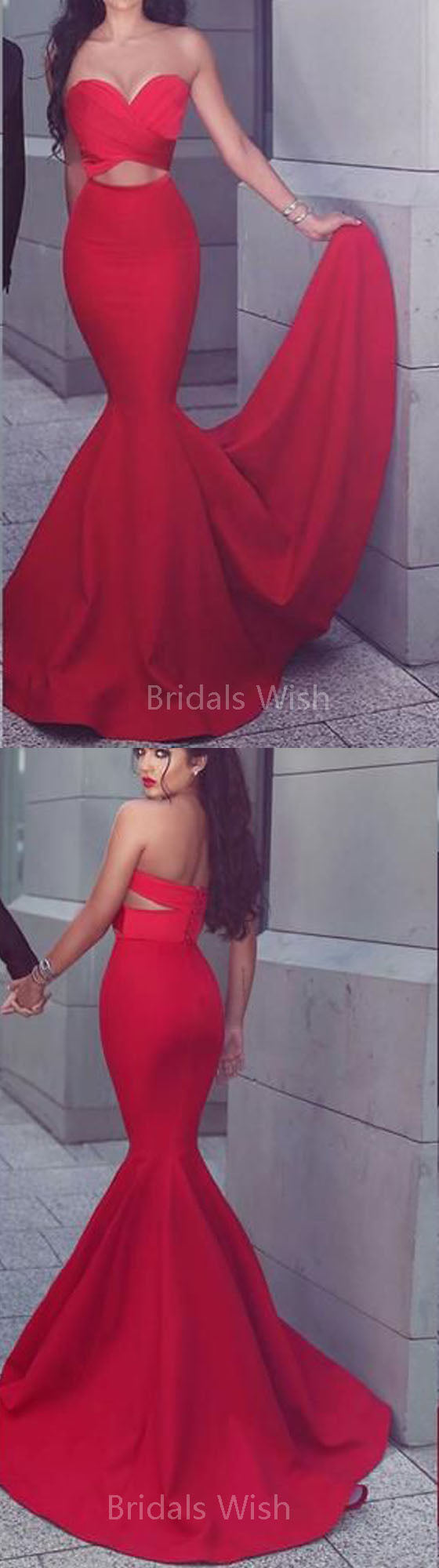 Pretty Red Off the Shoulder Mermaid with Sweep Train Long Evening Prom Dresses, BW0314