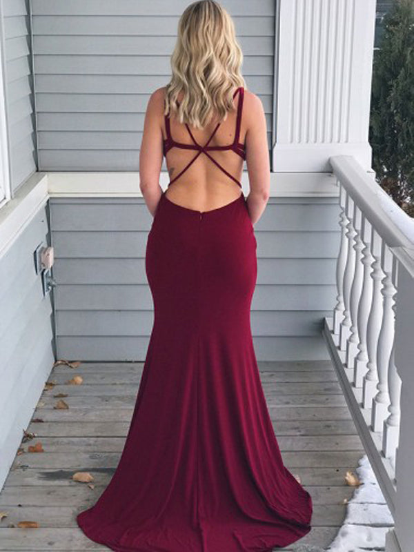 Unique Burgundy Sweet Heart Backless Sweep Train Evening Prom Dresses, BW0554