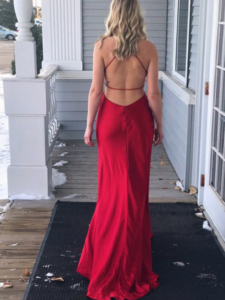 Gorgeous Red Spaghetti Strap V-Neck Side Slit Open Back Evening Prom Dresses, BW0557