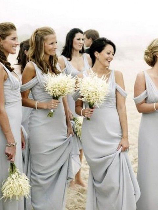 Simple Grey Off the Shoulder Long Bridesmaid Dresses , BW0413