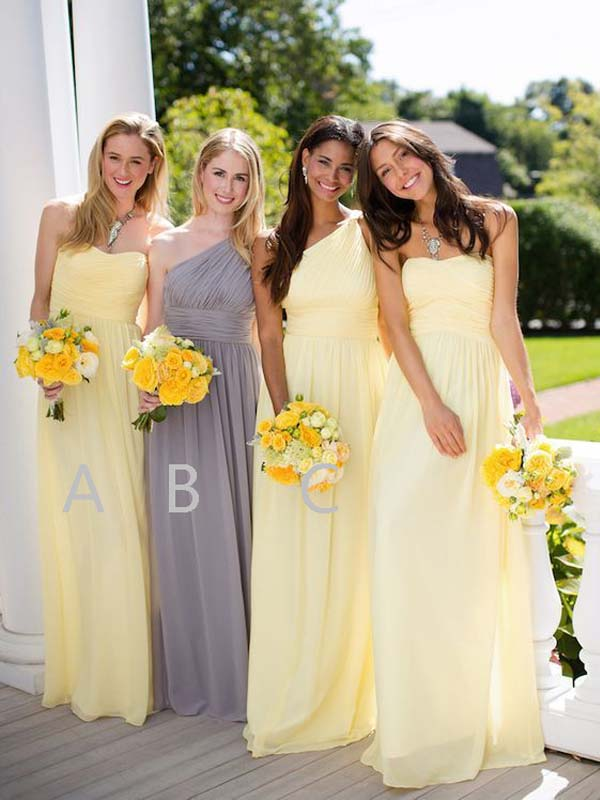 Mismatched Yellow & Grey Sweet Heart & One Shoulder Long Bridesmaid Dresses , BW0429