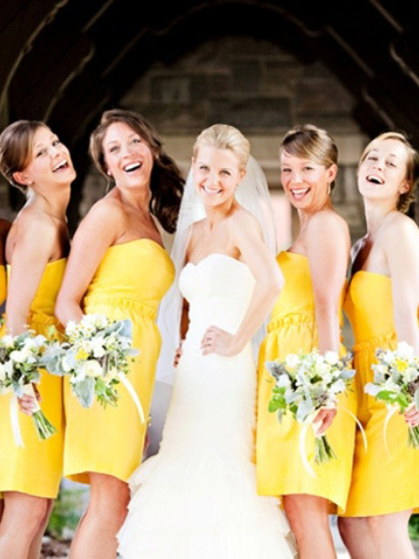 Cheap Yellow Straight Short Bridesmaid Dresses , BW0490