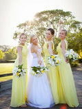 Pretty Yellow Sleeveless Long Bridesmaid Dresses , BW0431