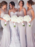 Pretty V-Neck Mermaid Long Bridesmaid Dresses , BW0419