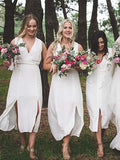 Popular V-Neck White Sleeveless Split Short Bridesmaid Dresses , BW0442