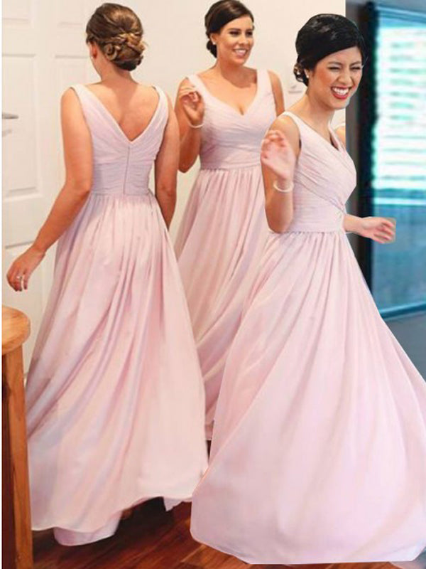 Simple Pink Zipper up V-Neck Long Bridesmaid Dresses , BW0372