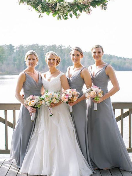 Simple Grey V-Neck Long Bridesmaid Dresses , BW0415