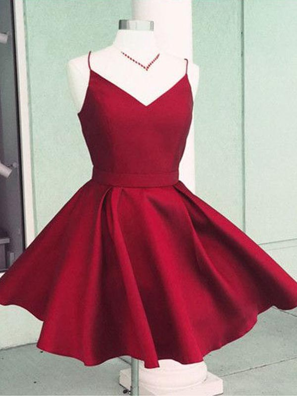 Pretty Burgundy Spaghetti Strap V-Neck Short Homecoming Dresses, BW0524