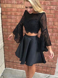 Pretty Black Two Pieces Lace Top Long Sleeves Short Homecoming Dresses, BW0522