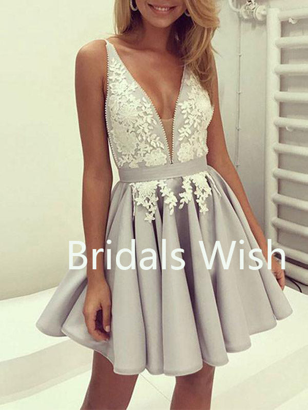 Gray Chiffon V-neck Lace Short Homecoming Dresses, BW0039