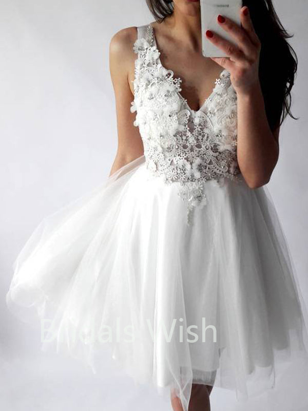 White V-Neck Lace Top Applique Short Homecoming Dresses, BW0100