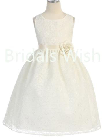 Little girl cute Lace White Satin Ribbon Short Flower Girl Dresses , BW0019
