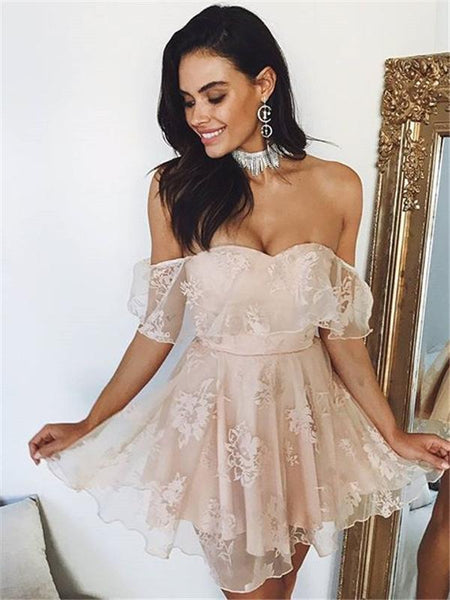 Lovely Off Shoulder Lace Cheap Short Homecoming Dresses, BW0004