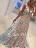A-Line Sweet Heart Sweep Train Lace Long Evening Prom Dresses, BW0083