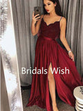 Burgundy Lace Top Spaghetti Strap Sweet Heart Side Slit Long Evening Prom Dresses, BW0052