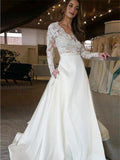 Cheap Lace Top V-Neck Long Sleeves Wedding Prom Dresses, BW0590