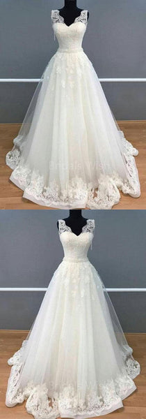Inexpensive Lace V-Neck Applique Wedding Dresses, BW0581