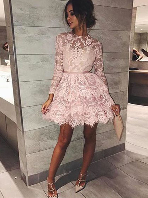 Charming Pink Lace Long Sleeves Short Homecoming Dresses, BW0268
