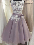 Pretty Lavender Lace Top Tulle Short Homecoming Dresses, BW0200