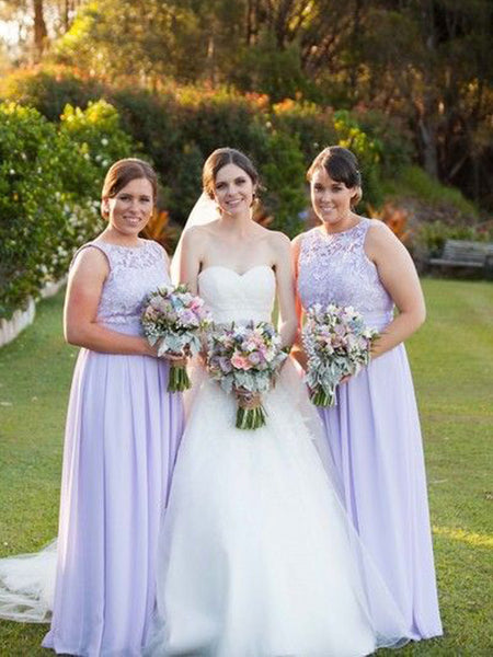 Pretty Lavender Lace Top Sleeveless Bridesmaid Dresses , BW0473