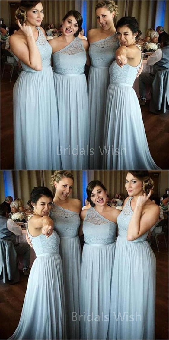 Pretty Light Blue Lace Top One Shoulder Long Bridesmaid Dresses , BW0508