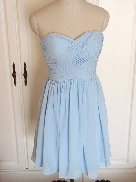Lovely Light Blue Sweet Heart Short Bridesmaid Dresses , BW0399