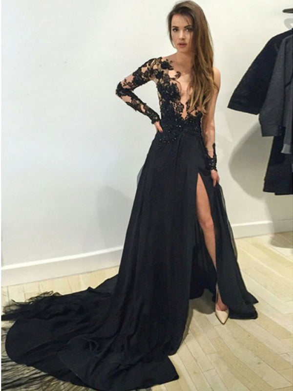 Popular Black Lace Top Long Sleeves Side Slit Court Train Long Evening Prom Dresses, BW0354