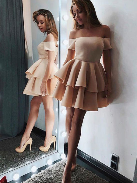 Light Yellow Off the Shoulder Straight Short Homecoming Dresses, BW0197