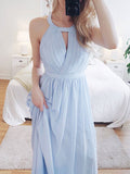 Elegant Light Blue Halter Criss-cross Long Evening Prom Dresses, BW0300