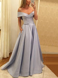 Simple Off the Shoulder Long Evening Prom Dresses, BW0616