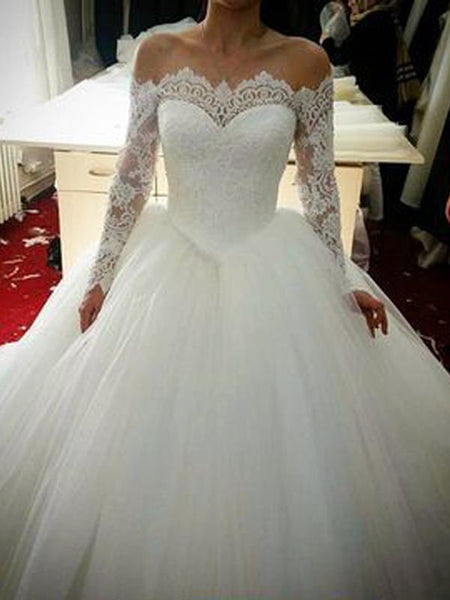 Gorgeous Lace Off the Shoulder Long Sleeves Wedding Dresses, BW0582