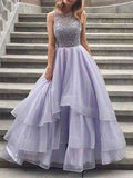 Charming Lavender Organza Heavy Beaded Top Long Evening Prom Dresses, BW0244