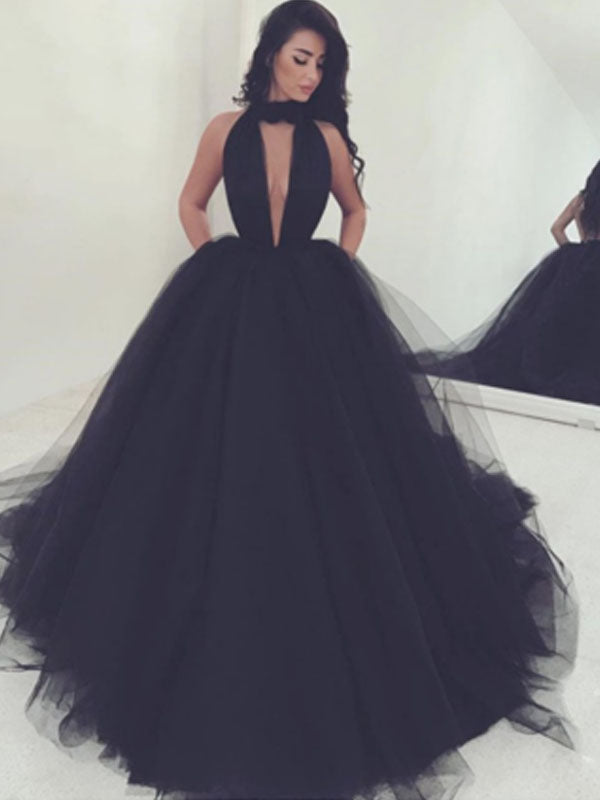 Black High Deep V-Neck Ball Gown Long Evening Prom Dresses, BW0148