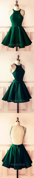 Cheap Popular Green Halter Backless Short Homecoming Dresses, BW0361