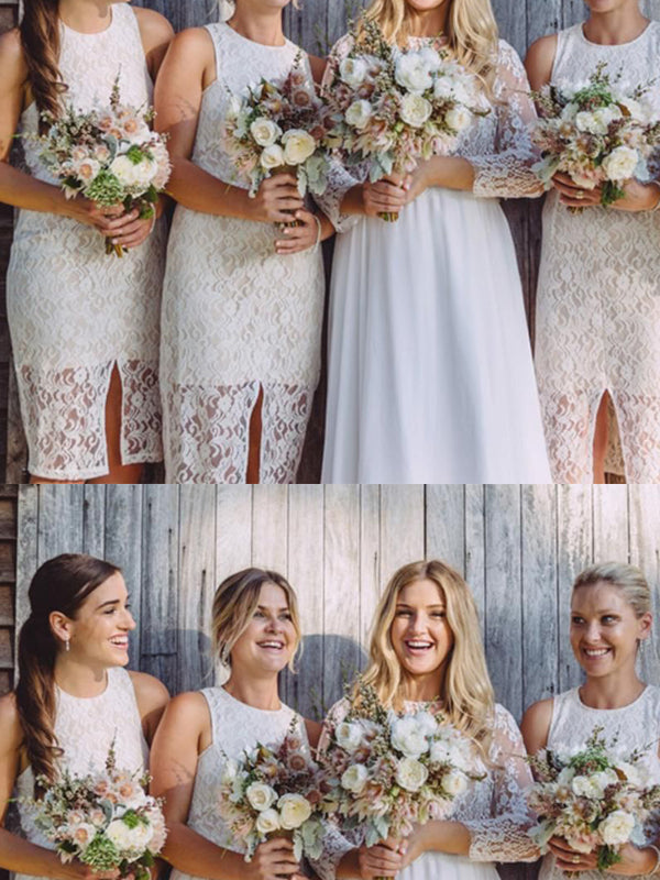 Unique White Lace Sleeveless Short Bridesmaid Dresses , BW0493