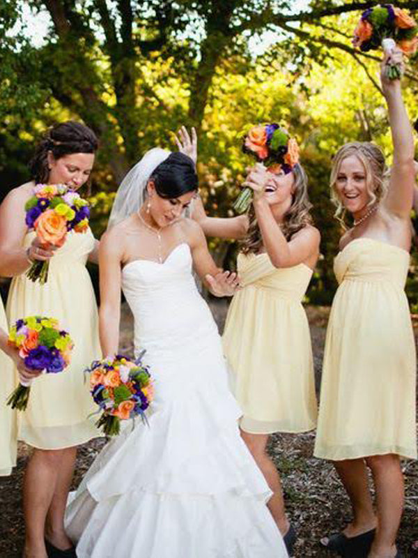 c62bb1f92b8 Cheap Light Yellow Sweet Heart Short Bridesmaid Dresses